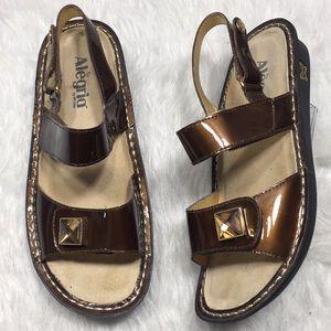 Alegria bronze patent leather double strap sandals